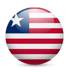 Round glossy icon of liberia vector image vector image