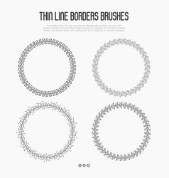 set of four thin line borders brushes vector image vector image