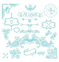 Vintage label set Hand-drawn doodles vector image