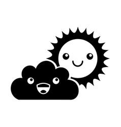 Beautiful fantasy cloud with sun kawaii character vector