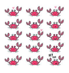 emoticons set of cute crab in cartoon style vector image