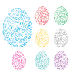 floral decorative easter eggs - holiday symbol vector image