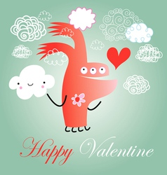 hilarious love monster vector image