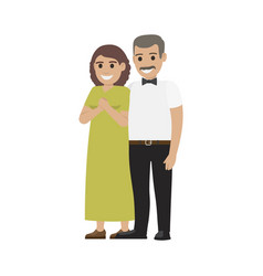 middle-aged pair standing together flat vector image