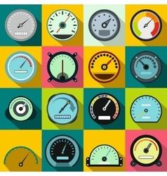 Speedometer icons set flat style vector image