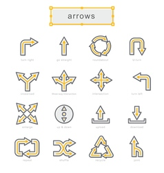 Thin line icons set Arrows vector image