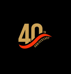 40 year anniversary gold template design vector