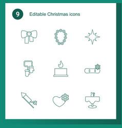 9 christmas icons vector