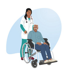 a girl nurse rolls a wheelchair with a patient vector image