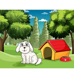 A white puppy outside his doghouse vector image