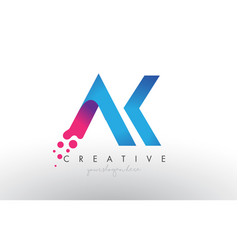 Ak letter design with creative dots bubble vector