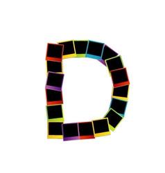 Alphabet D with colorful polaroids vector image