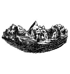 Alps mountains chamonix-mont-blanc peaks vintage vector