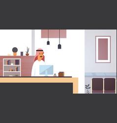 Arab business man using computer muslim vector