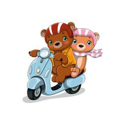 Bears on motocycle vector