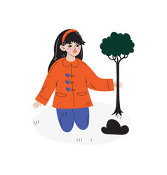 beautiful girl planting tree kids spring or vector image