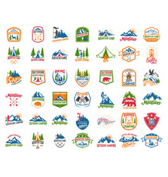 big set camping hiking tourism emblems design vector image