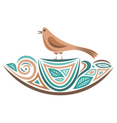 Bird and cup vector