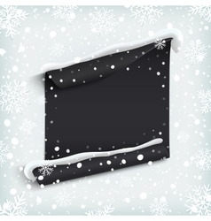 Black abstract paper banner on winter background vector image