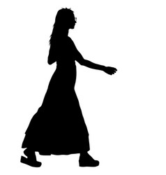 black silhouette woman standing people on white vector image vector image