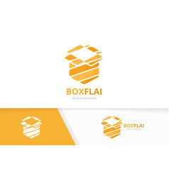 Box and post logo combination package and vector