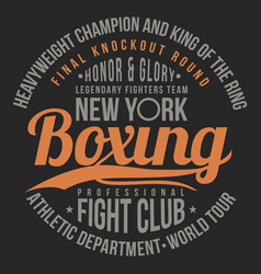 Boxing fight club typography for t-shirt print vector