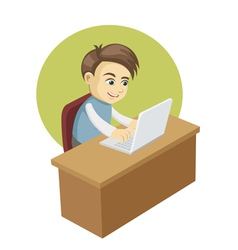 Boy in front of a laptop computer vector