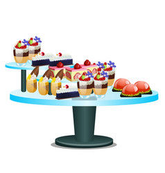 Buffet table with sweet desserts isolated on white vector