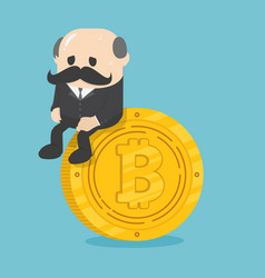 business sitting on coins bitcoin critical vector image