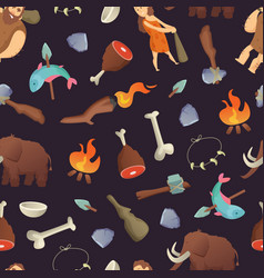 cartoon cavemen pattern vector image