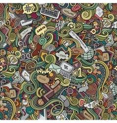 Cartoon doodles hand drawn internet social vector image