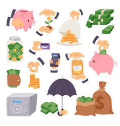 cartoon money save symbols concept finance icons vector image