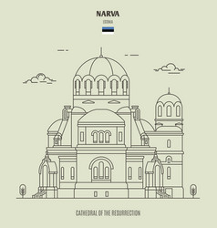 cathedral resurrection in narva vector image