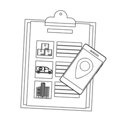 checklist and cellphone vector image