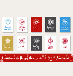 christmas and happy new year set vector image