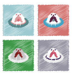 Collection of flat shading style icons antarctic vector