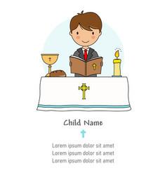 Communion card boy reading bible vector
