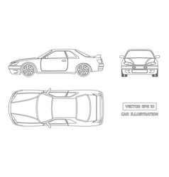 Contour drawing of the car on a white background vector