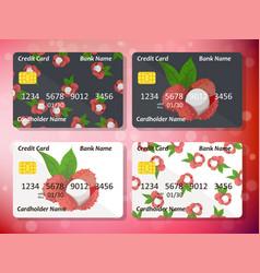 Credit card design with juicy lychee vector