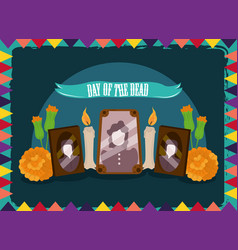 day dead photos frames candles and flowers vector image