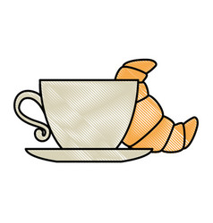 delicious croissant with coffee cup vector image