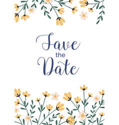 Design wedding invitation with delicate flowers vector