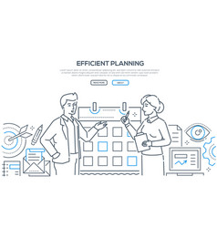 efficient planning - colorful line design style vector image