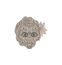 Female Sugar Skull Calavera Retro vector