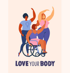 feminism body positive cards posters banners vector image