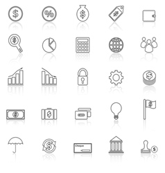 Finance line icons with reflect on white vector image