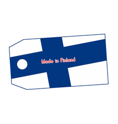 Finland flag on price tag with word made in vector