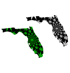 Florida - map is designed cannabis leaf vector