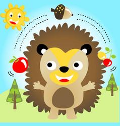 Funny cute hedgehog show attractions kids t shirt vector