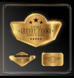 Golden luxury frame with bulb light border vector